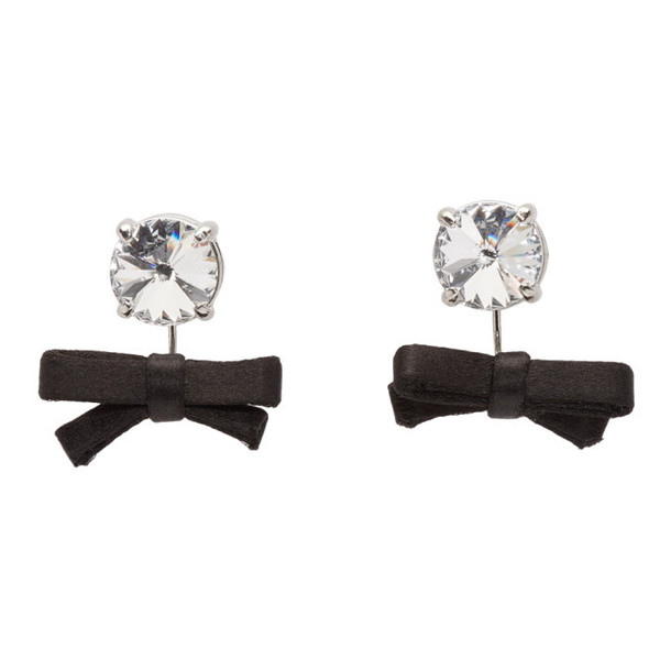 Miu Miu Black Crystal Bow Earrings