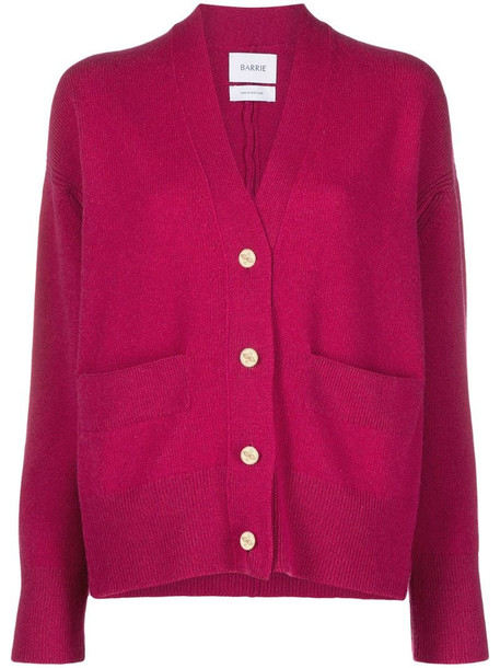 Barrie rib-trimmed cashmere cardigan in pink