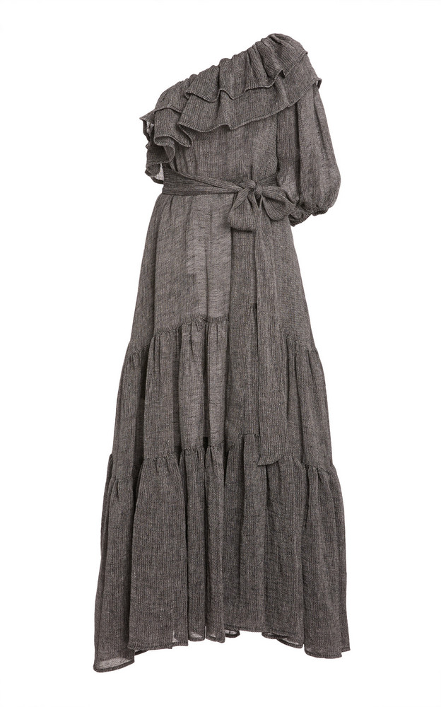 Lisa Marie Fernandez Arden Ruffled One-Shoulder Linen-Blend Maxi Dress in black