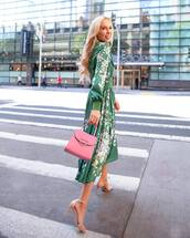 dress,midi dress,floral dress,long sleeve dress,sandals,pink bag