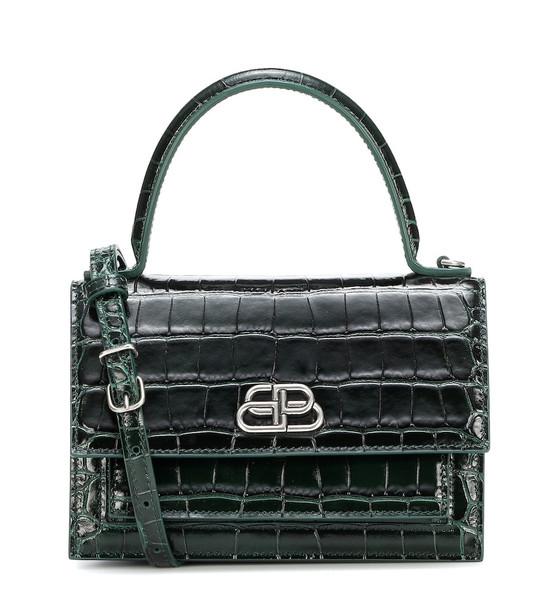 Balenciaga Sharp XS leather shoulder bag in green