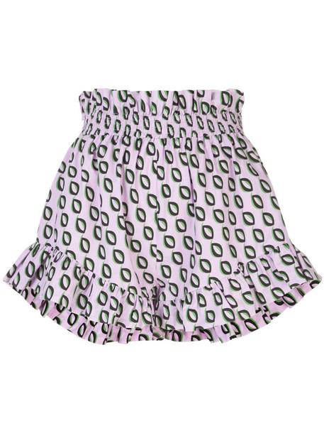 Cynthia Rowley Birdie smocked flutter shorts in purple