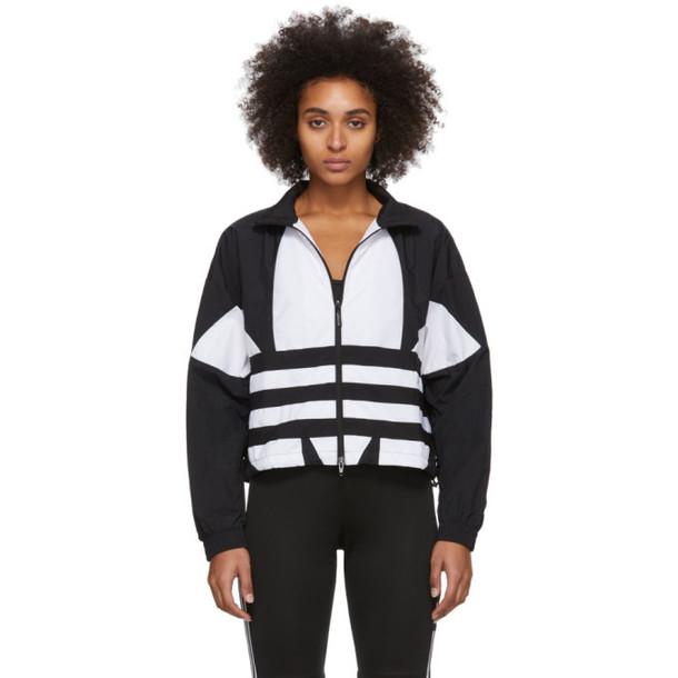 adidas Originals Black and White Large Logo Track Jacket