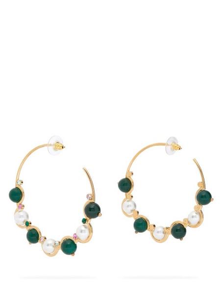 Erdem - Crystal & Faux-pearl Hoop Earrings - Womens - Green Multi