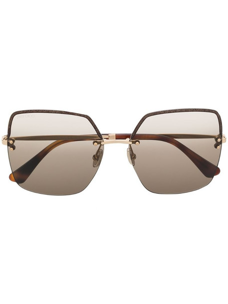 Jimmy Choo Eyewear Tavis oversize-frame sunglasses in gold