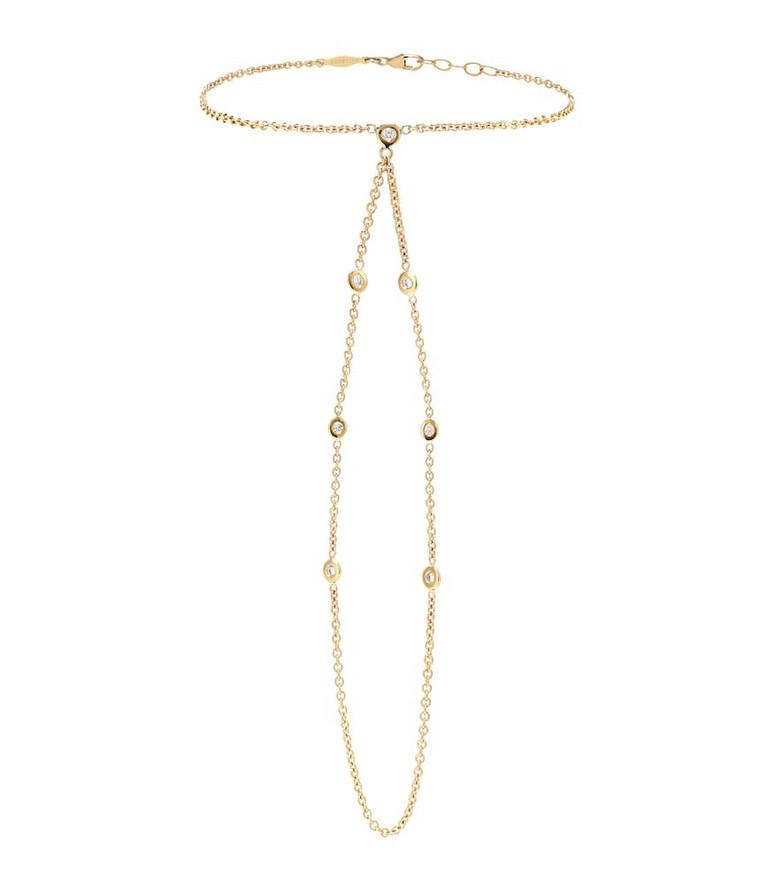 Jacquie Aiche Custom 14kt gold and diamond finger bracelet
