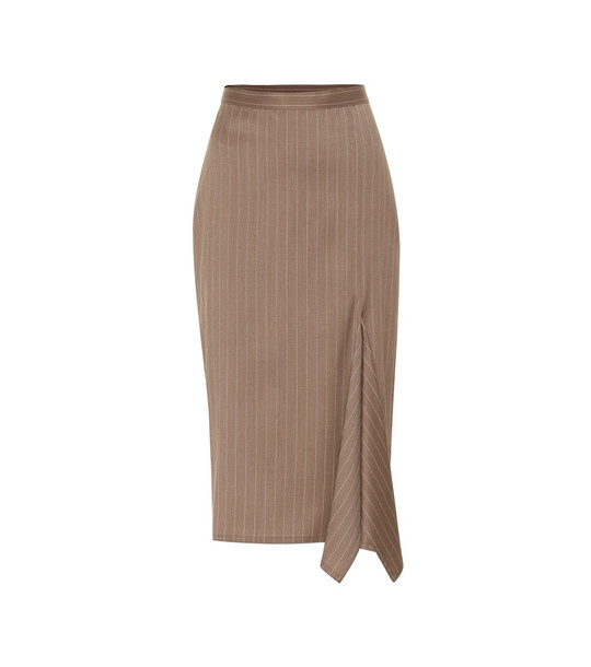 Max Mara Fedora striped wool pencil skirt in beige