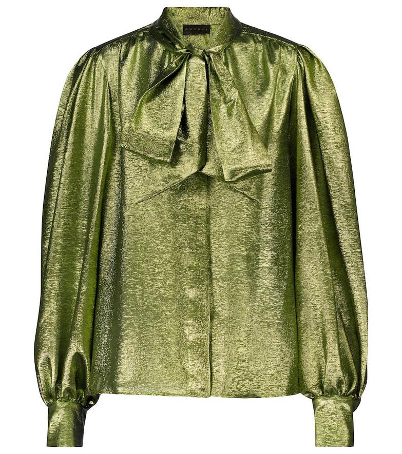 Dundas Silk-blend lamé shirt in green
