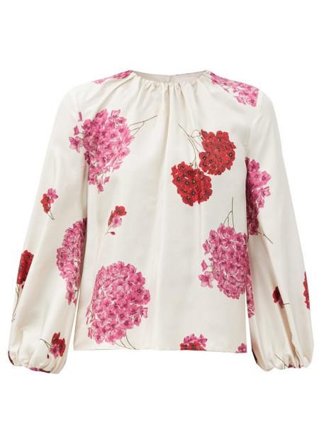 La DoubleJ - Charming Gathered Floral-print Silk-faille Blouse - Womens - White Print