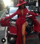 jumpsuit,red dress,suit,belt,flare