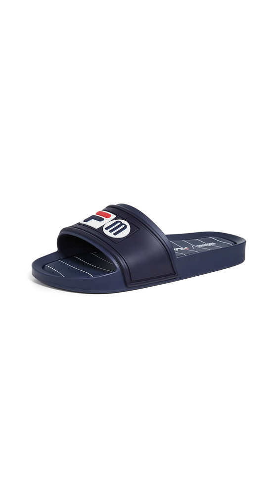 Melissa x Fila Slide Sandals in blue / white