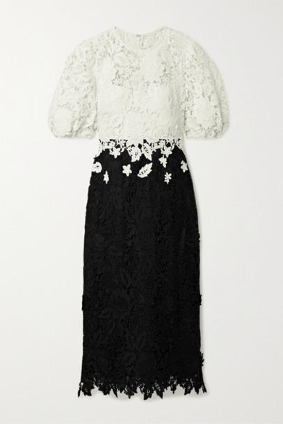 Lela Rose - Two-tone Guipure Lace Midi Dress - Black