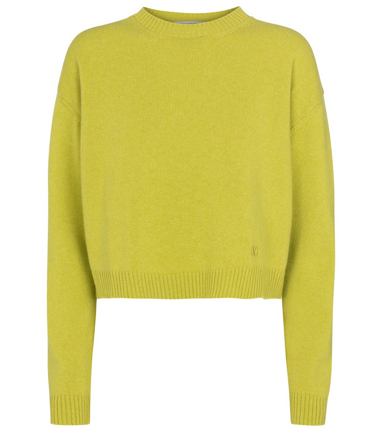 Valentino cropped cashmere sweater in green