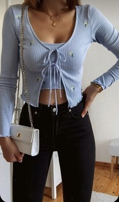 shirt,everything,whole outfit,two piece top,light blue,black jeans