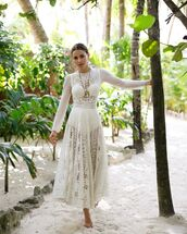 dress,maxi dress,white dress,lace dress,dior,long sleeve dress