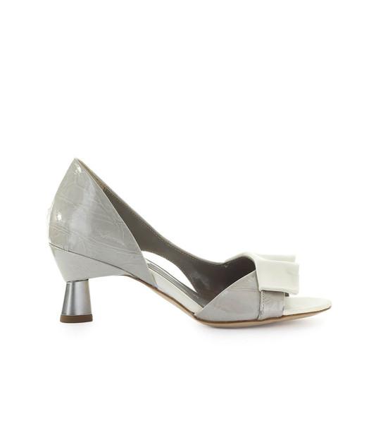 Ixos Bardot Grey White Open Toe Pump