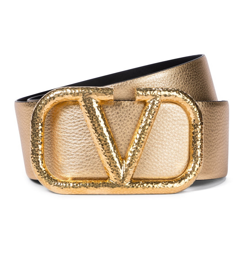 Valentino Garavani VLOGO leather belt in metallic