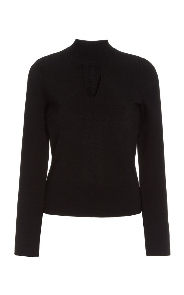 Proenza Schouler White Label Cutout Compact-Knit Turtleneck Top in black
