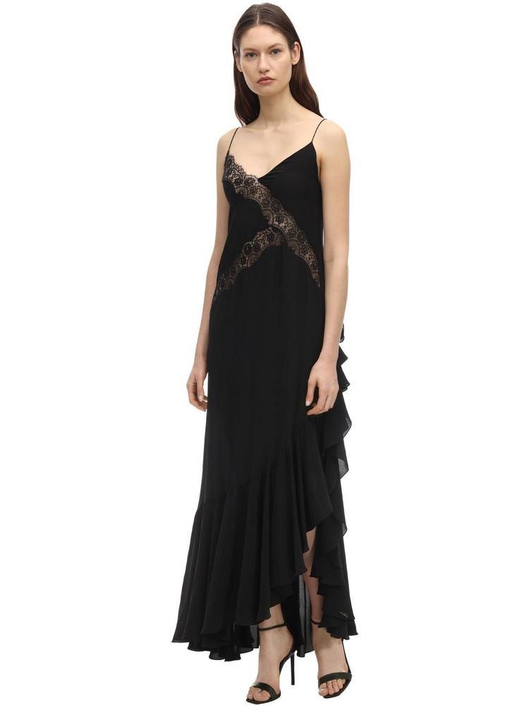 FAITH CONNEXION Long Satin Dress W/ Lace in black