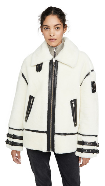 Moose Knuckles Golden Prairie Shearling Jacket in ivory