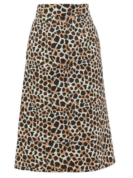 Sea - Apollo Leopard-print Cotton A-line Skirt - Womens - Leopard