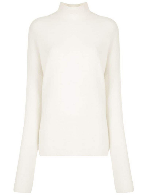 LAPOINTE bouclé turtleneck jumper in white