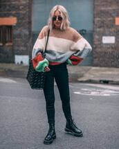 sweater,knitted sweater,h&m,striped sweater,black boots,lace up boots,black jeans,shoulder bag,sunglasses