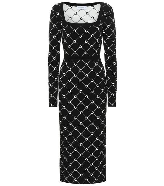 Marine Serre Jacquard midi dress in black
