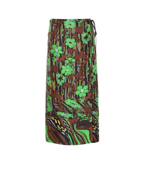 Prada Floral silk layered wrap skirt in green