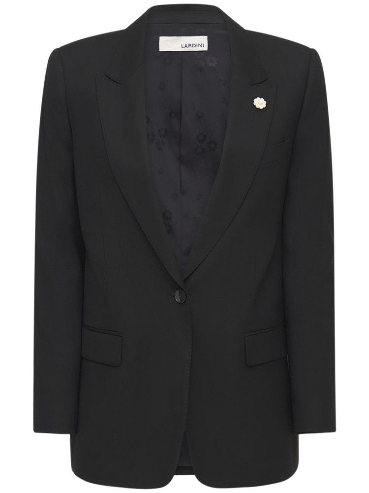 LARDINI Ghiso Single Breast Silk Jacket in black