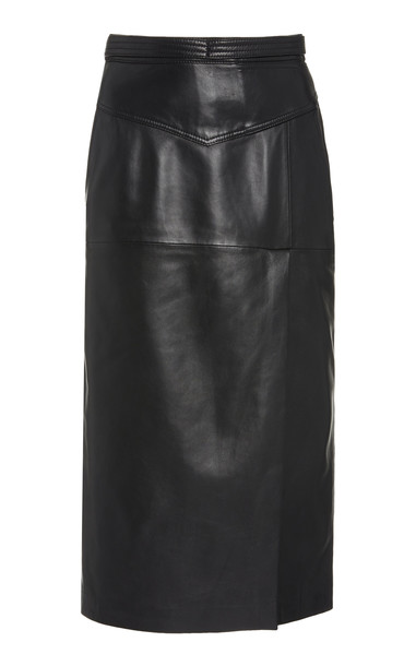 Red Valentino Leather Pencil Skirt in black