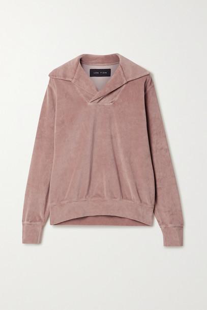 LES TIEN - Cotton-blend Velour Sweatshirt - Pink