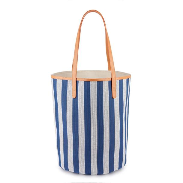 Mansur Gavriel Canvas Circle Bucket Bag - Blue/White