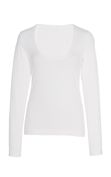 Helmut Lang Scoop Neck Top in white