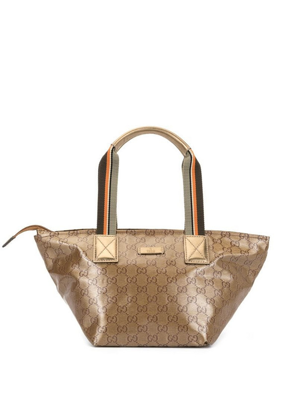 Gucci Pre-Owned GG supreme logo hand bag in gold