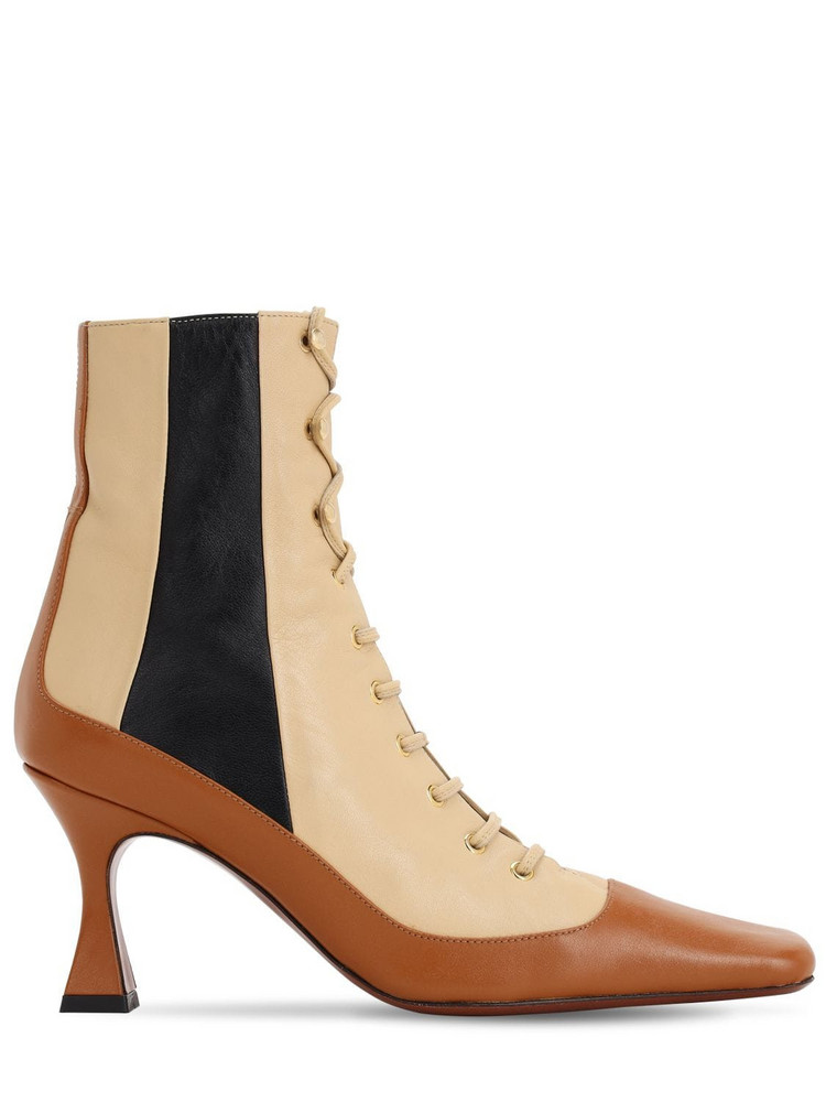 MANU ATELIER 80mm Leather Ankle Boots in brown / beige