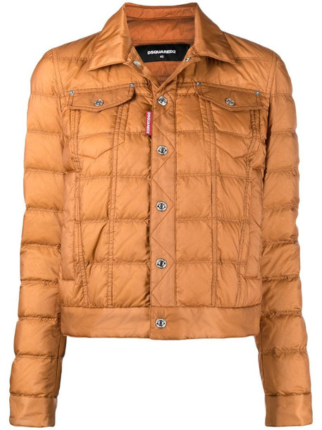 Dsquared2 cropped quilted puffer jacket in brown