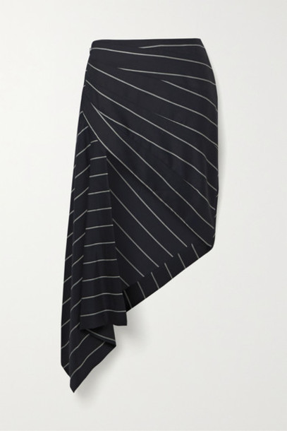 Monse - Asymmetric Draped Striped Wool-twill Skirt - Midnight blue