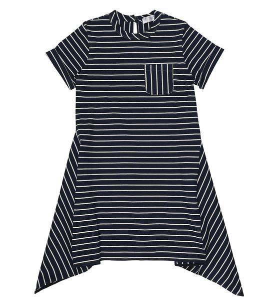 Brunello Cucinelli Kids Striped cotton dress in blue