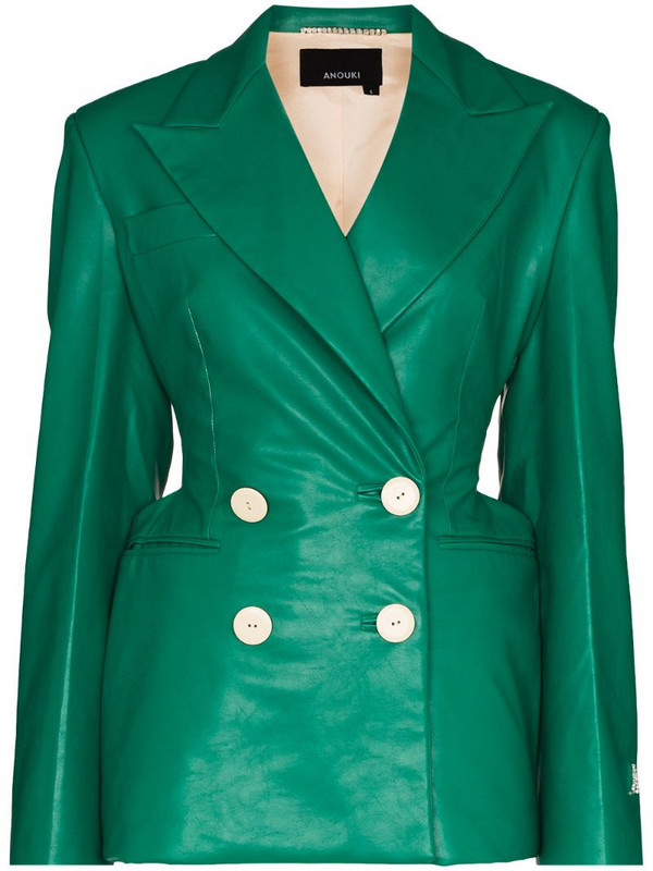 ANOUKI double-breasted blazer in green