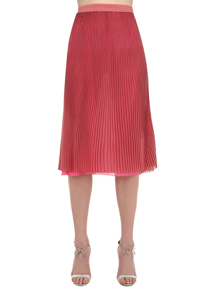 MARCO DE VINCENZO Pleated Lurex Midi Skirt in pink