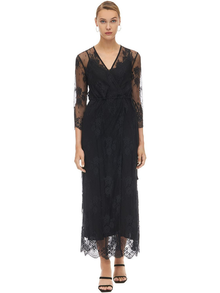 PINK MEMORIES Wrapped Lace Midi Dress W/ Cami Dress in black