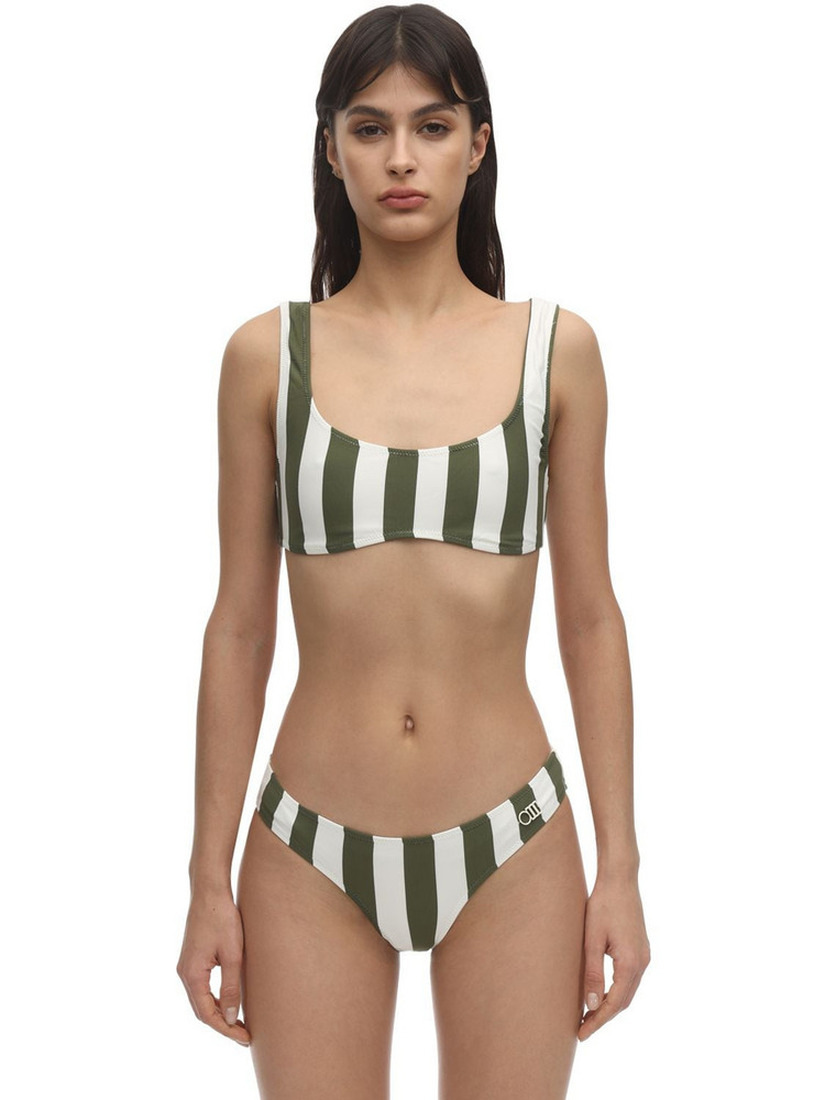 SOLID & STRIPED Elle Safari Striped Lycra Bikini Top in green / white