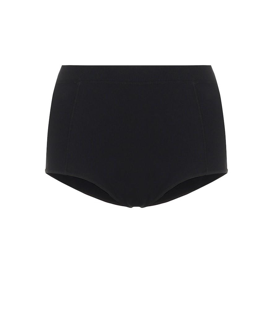 Dries Van Noten Ribbed high-rise cotton briefs in black