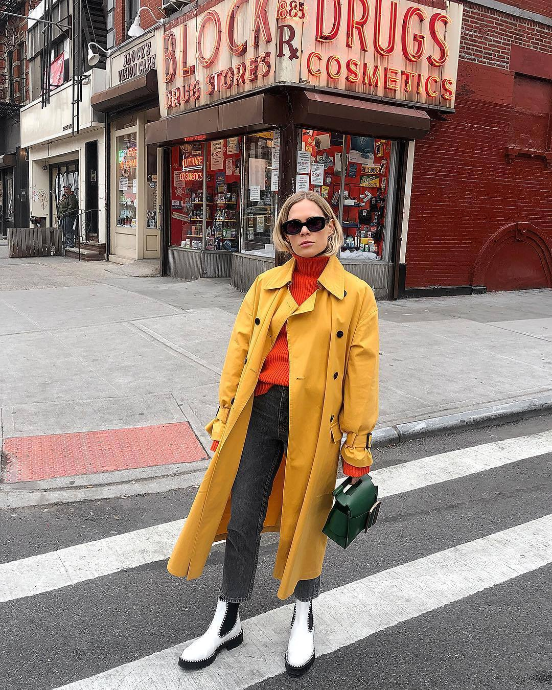 shoes white boots ankle boots flat boots alexander wang grey jeans high waisted jeans straight jeans turtleneck sweater yellow trench coat green bag