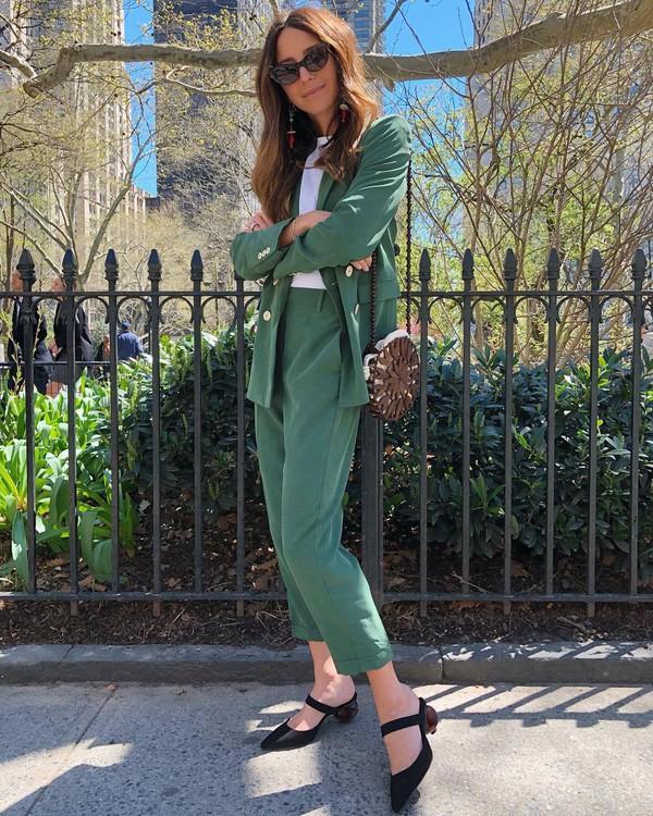 pants green pants green blazer blazer bag sunglasses mules
