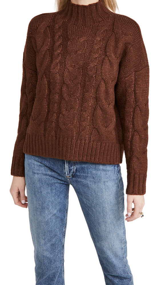 En Saison Mock Neck Cable Knit Sweater in brown