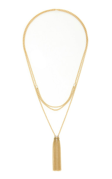 Maria Canale 18K Gold Tassel Lariat Necklace