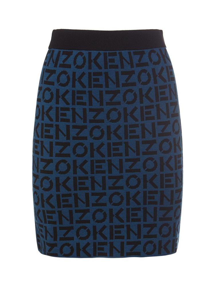 KENZO Monogram Cotton Blend Mini Skirt in black / blue