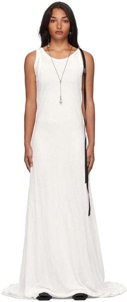Ann Demeulemeester Leen Double Layer Long Dress in white